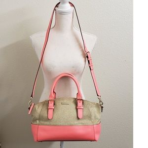 kate spade Coral Leather/Sand Canvas handbag
